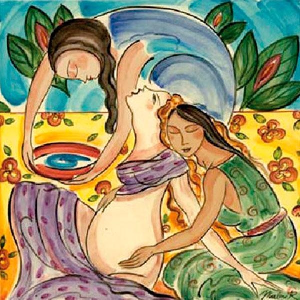dessin d'une femme enceinte assistée par deux doulas
